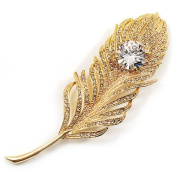 Large. Crystal Peacock Feather Gold Tone Brooch (Clear) - 11.5cm Length