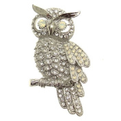 Acosta - Clear & Opal. Crystal - Large Owl Brooch - Gift Boxed