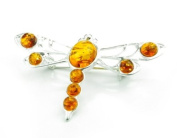 925 Sterling Silver & Baltic Amber Jewellery - Dragonfly Brooch 4014