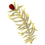 Brooches Store Gold & Ruby Red Crystal Peacock Feather Brooch