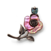 Mother of Pearl Pink Rose Flower Design Abalone Shell Brooch Pin
