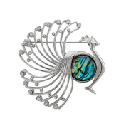 Mother of Pearl Peacock Design Colourful Dark Green Shell Brooch Pin