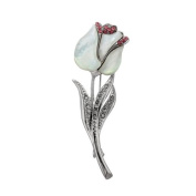 Mother of Pearl White Tulip Flower Design Shell Brooch Pin