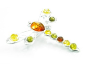 925 Sterling Silver & Baltic Amber Jewellery - Dragonfly Brooch 4032
