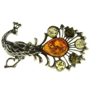 Baltic amber and sterling silver 925 designer multi-coloured peacock brooch pin jewellery jewellery