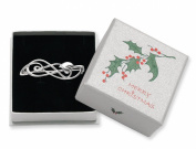 Christmas Gift Boxed Sterling Silver Rennie. style plain brooch with leaf - SIZE