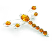 Lovely 925 Sterling Silver & Baltic Amber Brooch - SilverAmber Jewellery 4032C