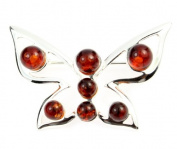 925 Sterling Silver & Baltic Amber Jewellery - Designer Brooch AA803