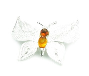 925 Sterling Silver & Baltic Amber Jewellery - Brooch 4012