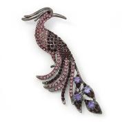 Oversized Purple Crystal Peacock Brooch In Gun Metal Finish - 11cm Length