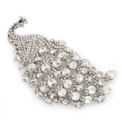 Gigantic Clear Crystal 'Peacock' Brooch In Silver Plating - 11cm Length