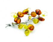 Lovely 925 Sterling Silver & Baltic Amber Brooch - SilverAmber Jewellery 4047