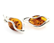 925 Sterling Silver & Baltic Amber Jewellery - Brooch GL807