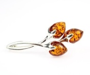 925 Sterling Silver & Baltic Amber Jewellery - Brooch GL803