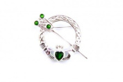 Silverspirit Jewellery Claddagh Silver Tara Brooche with Emerald Cubic Zirconia Stone