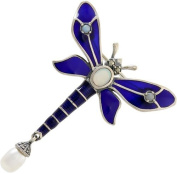 Pearl Tail Blue Sterling Silver Dragonfly Brooch Hallmarked 925 Jewellery / Ladies Gift