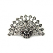Brooches Store Marcasite, Sterling Silver & Granite Peacock Brooch