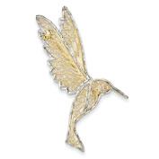14ct and Rhodium Diamond-cut Filigree Hummingbird Pin - JewelryWeb