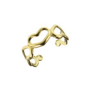 Jewellery of Lords 6.9mm Wide Gold Plated Open Heart Love Romance Hollow Valentine Sweet Toe Ring Beach Ware Rings