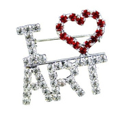 A Heart Loves Arts Artist Clear Red Crystal Brooch Pin Candy Jewellery