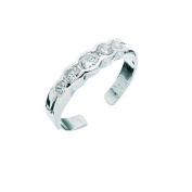 5 Crystal Toe Ring In Sterling Silver