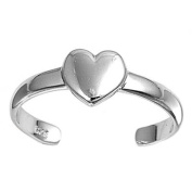Toe Ring Sterling Silver Heart 11