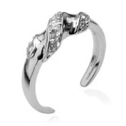 Gekko Body Jewellery Beautiful Sterling Silver Cubic Zirconia (CZ) Solitaire Toe Ring
