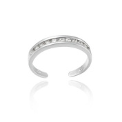 Sterling Silver Channel Set Clear CZ Toe Ring
