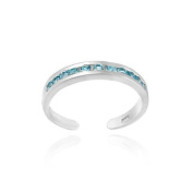 Sterling Silver Toe Ring with Channel Set Dark Blue CZ