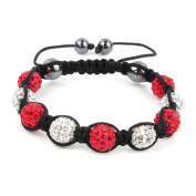 Shamballa Bracelet White & Red Disco Ball Friendship Bead Unisex Bracelets. Crystal Beads