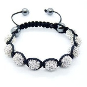 Shamballa Bracelet Silver Disco Ball Friendship Bead Unisex Bracelets. Crystal Beads