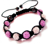 Shamballa Bracelet White & Purple Ball Friendship Bead Unisex Bracelets. Crystal Beads