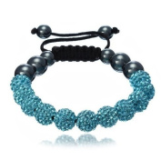 Shamballa Bracelet Turquoise Blue (NO STRINGS) Disco Ball Friendship Bead Unisex Bracelets. Crystal Beads
