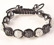 Shamballa Bracelet White & Black Disco Ball Friendship Bead Unisex Bracelets. Crystal Beads