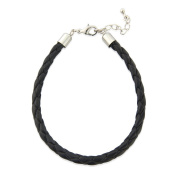 Boys/ Mens Black leather plaited bracelet, adjustable in length other colours available and arrives complete in a gift bag