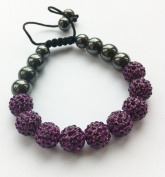 Shamballa Bracelet PURPLE (No Strings) Disco Ball Friendship Bead Unisex Bracelets. Crystal Beads