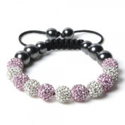 Shamballa Bracelet WHITE & PINK (NO STRINGS) Disco Ball Friendship Bead Unisex Bracelets. Crystal Beads