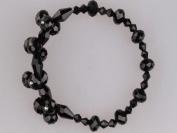 Blingalove Faceted Crystal Glass Cluster Stretch Bracelet Black Colour