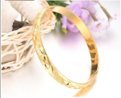 OPK-New Fashion Jewellery 18K Gold Plated Wedding Party Women's Cuff Bangle Popular Bride Gift Bracelets Never Fade and Anti-Allergy 7.09 Inch Perimeter 7mm Width 21g Weight New Design Sparkling Wristband