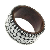 Bangle - Wood, silver studs and pearls - 4 cm wide