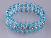 Blingalove 3 Row Crystal Glass & Diamante Crystal Stretch Bracelet Blue Colour