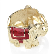 Bling Online Gold Colour Hinged Elephant Bangle with Red Glitter Enamel.