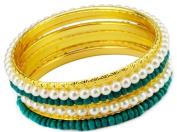 Blingalove Green and Pearl gold bangle