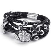 Konov Jewellery Women's Flower Charms Braided Leather Bracelet, Bangle, Colour Silver Black