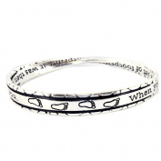 Gift of Footprint Serenity Prayer Infinity Circle Bangle Bracelet
