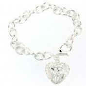 Silver 925 Heart Filigree Ladies link Bracelet/ Gift Pouch