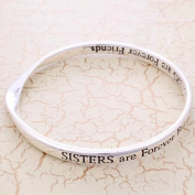 Silver Plated Message Bangle - SISTERS are forever friends...SISTERS are forever friends....