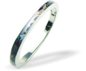 Exquisite Natural Abalone Paua Shell Bangle in Delicate Blue Green,65mm in size.