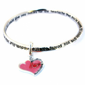 Mom's Heart Charm Infinity Bangle Engraved Poem Bracelet Holiday Birthday Gift