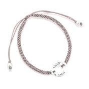 Sterling Silver Friendship Bracelet with 'Angel' Hoop and silk adjustable strap - Grey